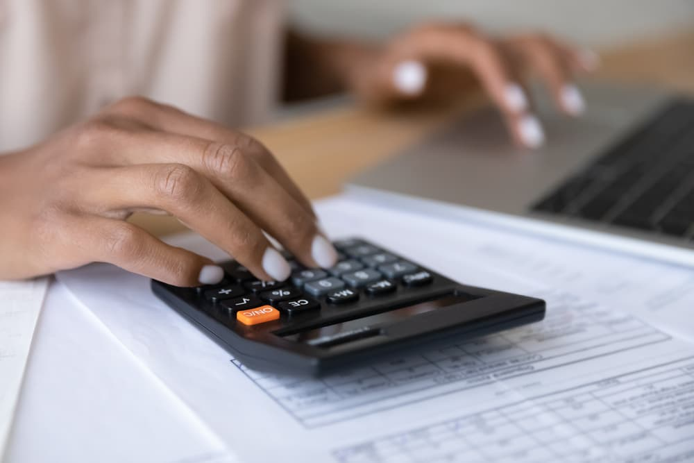 Close up of woman manage finances using laptop